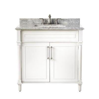 Aberdeen 36 in. W x 22 in. D Single Vanity in White with Marble Vanity Top in White