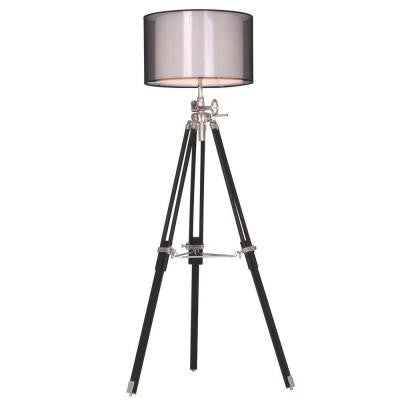 Ansel Tripod 73 in. Chrome and Black Floor Lamp