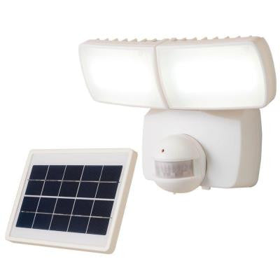 180° White Solar Motion Activated LED Twin Head Flood Light