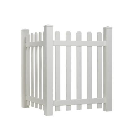4 ft. x 3.5 ft. White Vinyl Dog Ear Spaced Picket Corner Accent Fence Panel Kit