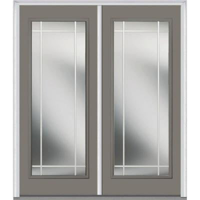 60 in. x 80 in. Classic Clear Glass PIM Full Lite Painted Builder's Choice Steel Double Prehung Front Door