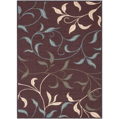 Leaves Design Brown 3 ft. 3 in. x 5 ft. Non-Skid Area Rug