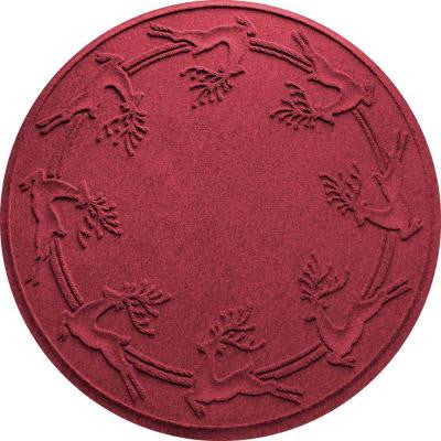 Aqua Shield Red/Black 35 in. Round Reindeer Run Under the Tree Mat