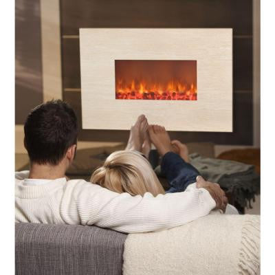 Adobe 38 in. Wall-Mount Electric Fireplace in Polished Beige