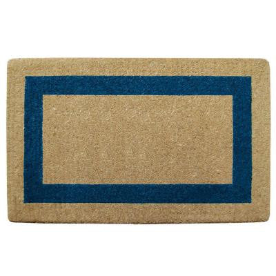 Single Picture Frame Blue 22 in. x 36 in. Coir Door Mat