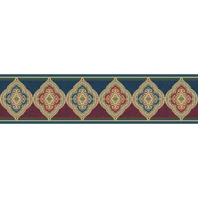 5.13 in. x 15 ft. Blue and Red Jewel Tone Traditional Paisley Border