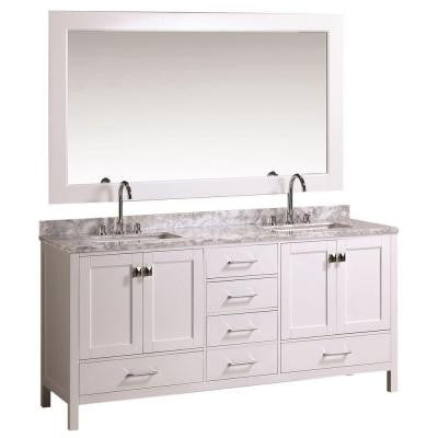 London 72 in. W x 22 in. D Double Vanity in White with Marble Vanity Top and Mirror in Carrara White
