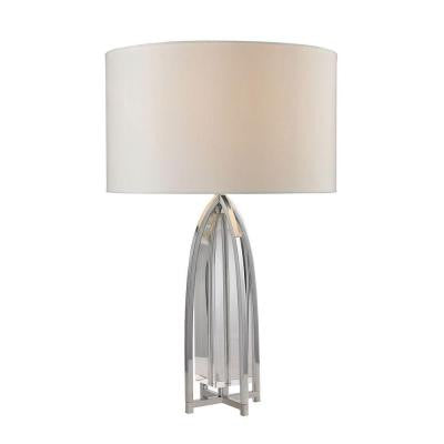 Wheeler 27 in. Chrome and Clear Table Lamp with Shade
