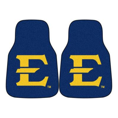 NCAA East Tennessee State University Heavy Duty 2-Piece 18 in. x 27 in. Nylon Carpet Car Mat