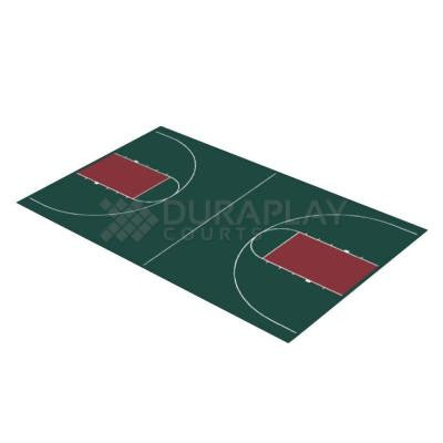 44 ft. 3 in. x 75 ft. 6 in. Hunter Green and Burgundy Full Court Basketball Kit