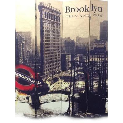 71 in. x 64 in. 4-Panel Brooklyn Then and Now City Printed on Canvas Room Divider