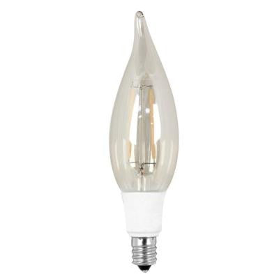 Vintage Style 40W Equivalent Soft White (2200K) CA10 Candelabra Flame Tip Dimmable LED Light Bulb