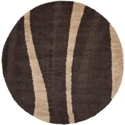 Willow Shag Dark Brown/Beige 4 ft. x 4 ft. Round Area Rug