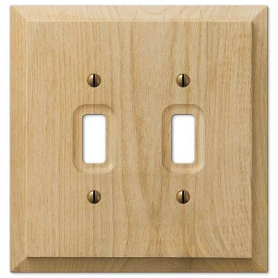 Wood 2 Toggle Wall Plate - Un-Finished Wood