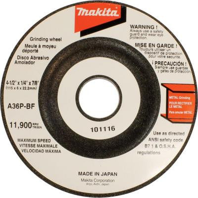4-1/2 in. x 7/8 in. x 1/4 in. 36-Grit General Purpose Metal Grinding Wheel