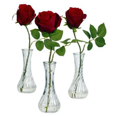 12 in. H Red Rose with Bud Vase (Set of 3)