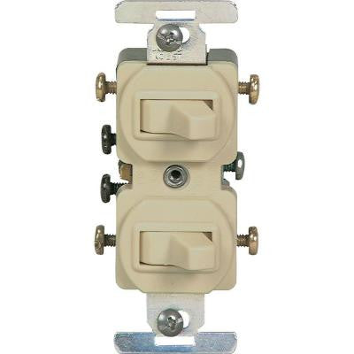 15 Amp Commercial Grade Toggle Duplex Switch - Ivory