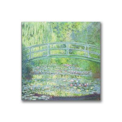 18 in. x 18 in. Waterlily Pond-the Bridge II Canvas Art