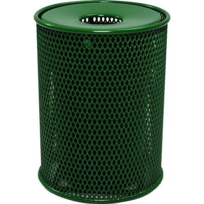 32 Gal. Green Park Trash Can with Flat Lid