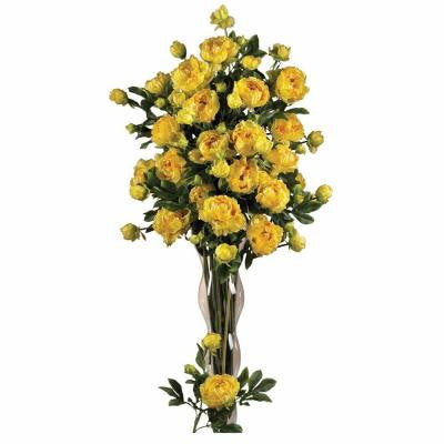 38.5 in. H Yellow Peony with Leaves Stem (Set of 12)