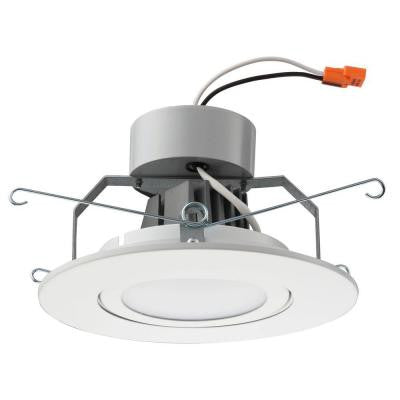 6 in. Matte White LED Recessed Downlighting Gimbal Module