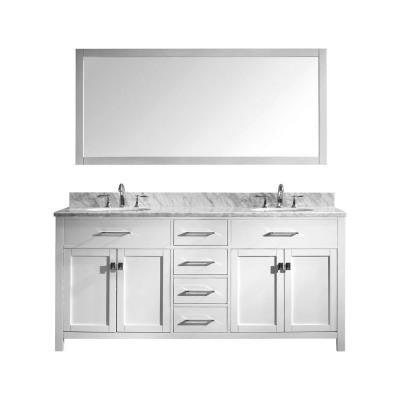 Caroline 72 in. Double Basin Vanity in White with Marble Vanity Top in Italian Carrera and Mirror