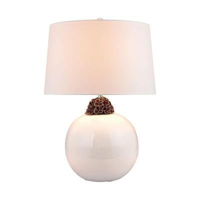 Orly 27 in. White and Brown Table Lamp with Shade