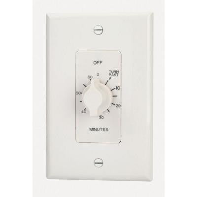 A500 series Multi-Volt 125/250/277 VAC 60-Minute Springwound Auto Off In-Wall Timer - White