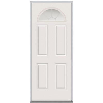 30 in. x 80 in. Classic Clear Glass 5 Arch Lite 4-Panel GBG Primed White Steel Replacement Prehung Front Door
