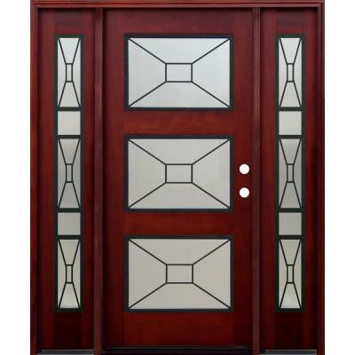 36 in. x 80 in. Contemporary 3 Lite Mistlite Stained Mahogany Wood Prehung Front Door with Grille and 12 in. Sidelites
