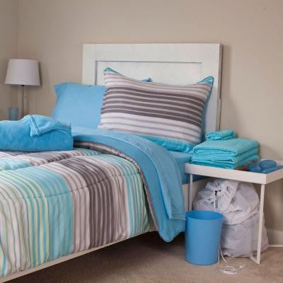 Monaco Reversible 25-Piece Full Dorm Linen Set in Blue