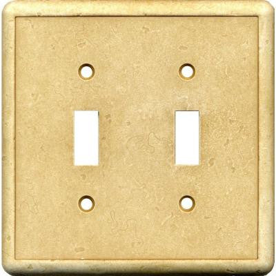 2 Gang 2 Toggle Cast Stone Wall Plate - Gold