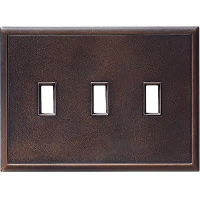 3 Gang 3 Toggle Screwless Wall Plate - Oil Rubbed Bronze