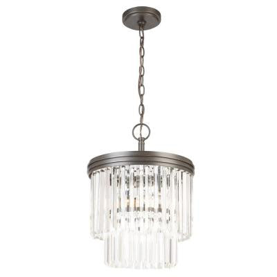 2-Light Oil Rubbed Bronze Crystal 2-Tier Chandelier