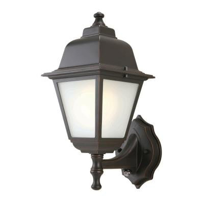 1-Light Oil Rubbed Bronze Outdoor Dusk-to-Dawn Wall-Mount Lantern