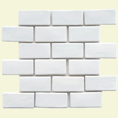 Cobble Subway White 12 in. x 12 in. x 12 mm Ceramic Mosaic Floor and Wall Tile