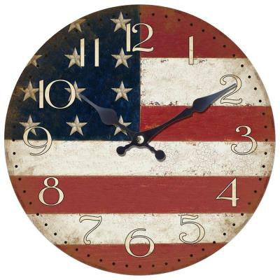 14 in. Circular Wooden Wall Clock with American Flag Print