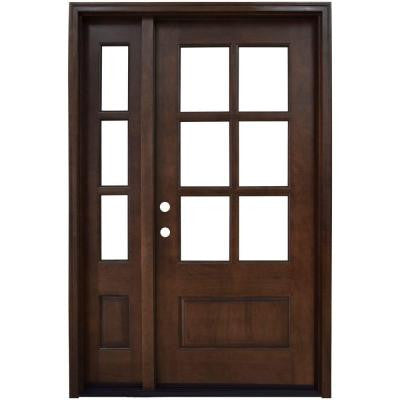 Savannah 6 Lite Stained Mahogany Wood Prehung Front Door with Sidelite