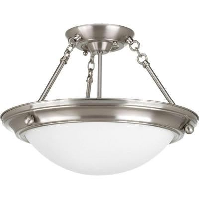 Eclipse Collection 2-Light Brushed Nickel Semi-flushmount