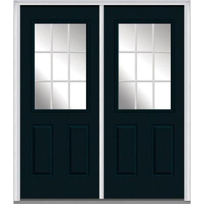 60 in. x 80 in. Classic Clear Glass GBG 1/2-Lite Painted Fiberglass Smooth Double Prehung Front Door