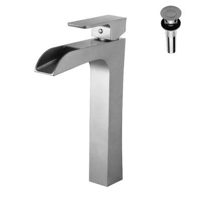Single Hole 1-Handle Bathroom Faucet in Brushed Nickel with Pop-Up Drain