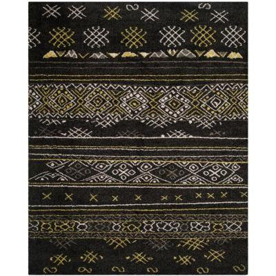 Tibetan Shag Black/Green 5 ft. 1 in. x 7 ft. 6 in. Area Rug