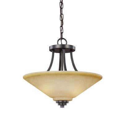 Parkfield. 2-Light Flemish Bronze Indoor Convertible Semi Flush Mount