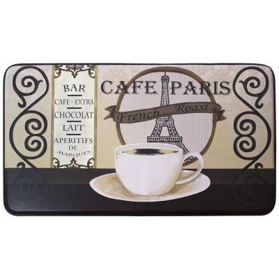 Cafe Paris 18 in. x 30 in. Faux Leather Comfort Kitchen Mat