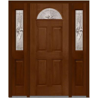 60 in. x 80 in. Heirloom Master Decorative Glass 1/4 Lite Finished Mahogany Fiberglass Prehung Front Door with Sidelites