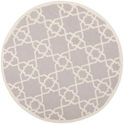 Dhurries Grey/Ivory 6 ft. Round Area Rug