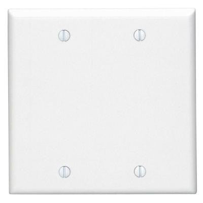 2-Gang Blank Wall Plate - White