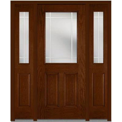 60 in. x 80 in. Classic Clear Glass PIM 1/2 Lite Finished Oak Fiberglass Prehung Front Door with Sidelites