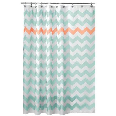 72 in. x 72 in. Chevron Shower Curtain in Aruba and Coral
