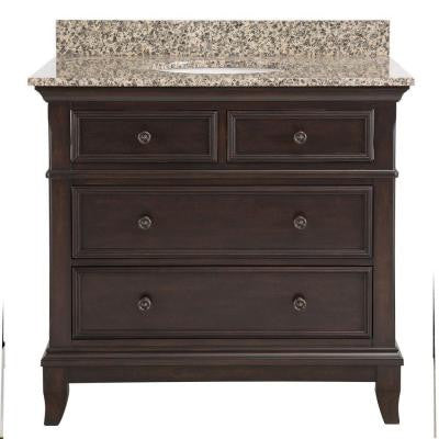 Appleby 37 in. Vanity in Burnished Walnut with Granite Vanity Top in Leopard with White Basin